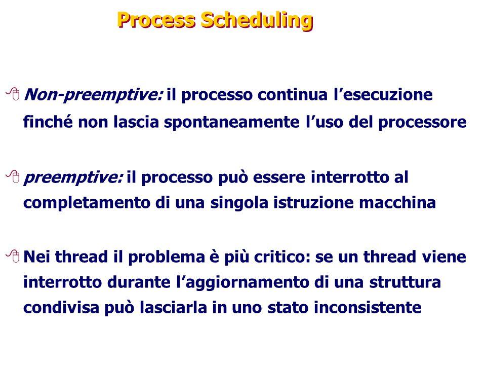 Process Scheduling Non-preemptive: il processo continua l'esecuzione finché non lascia spontaneamente l'uso del processore.