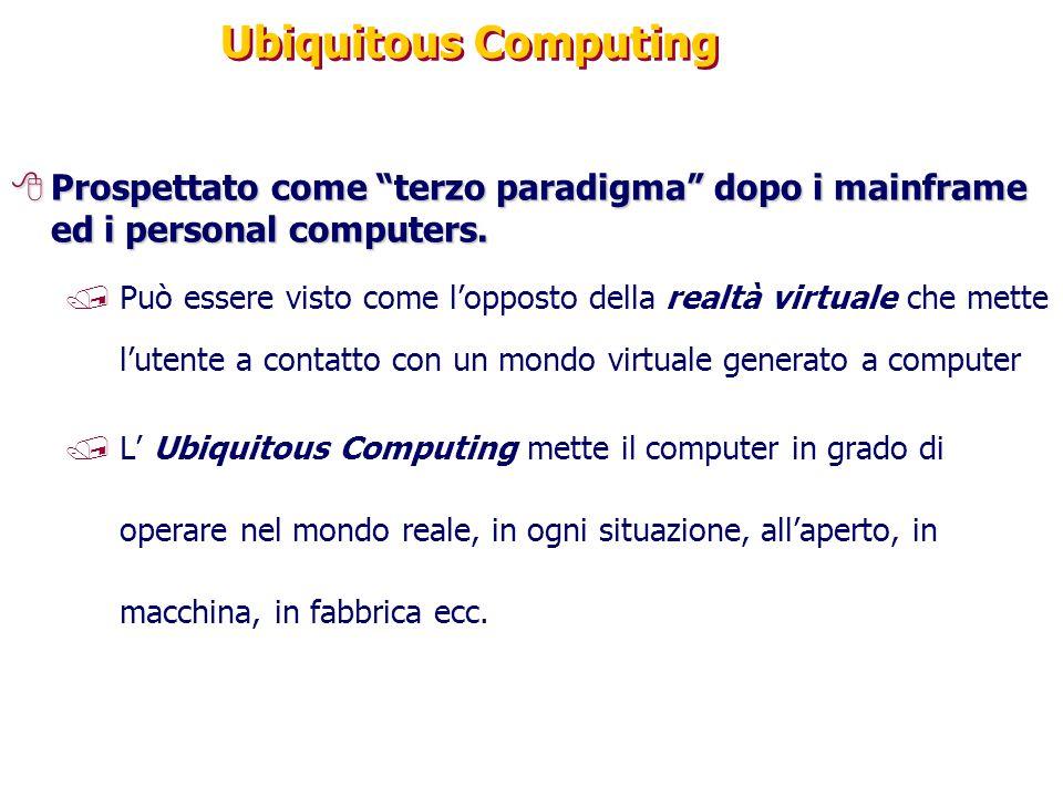Ubiquitous Computing Prospettato come terzo paradigma dopo i mainframe ed i personal computers.