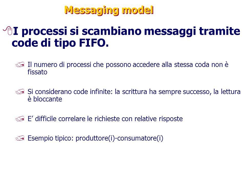 I processi si scambiano messaggi tramite code di tipo FIFO.