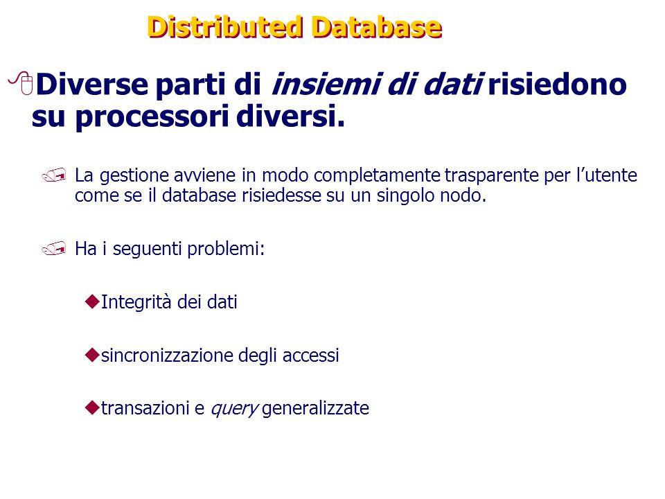 Diverse parti di insiemi di dati risiedono su processori diversi.