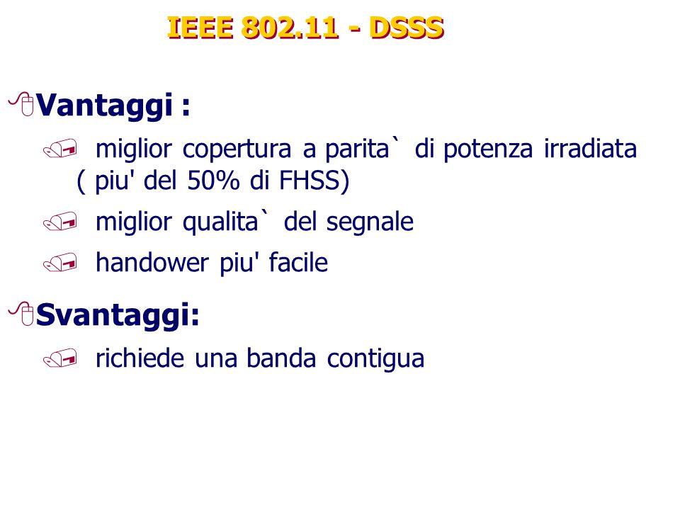 Vantaggi : Svantaggi: IEEE 802.11 - DSSS