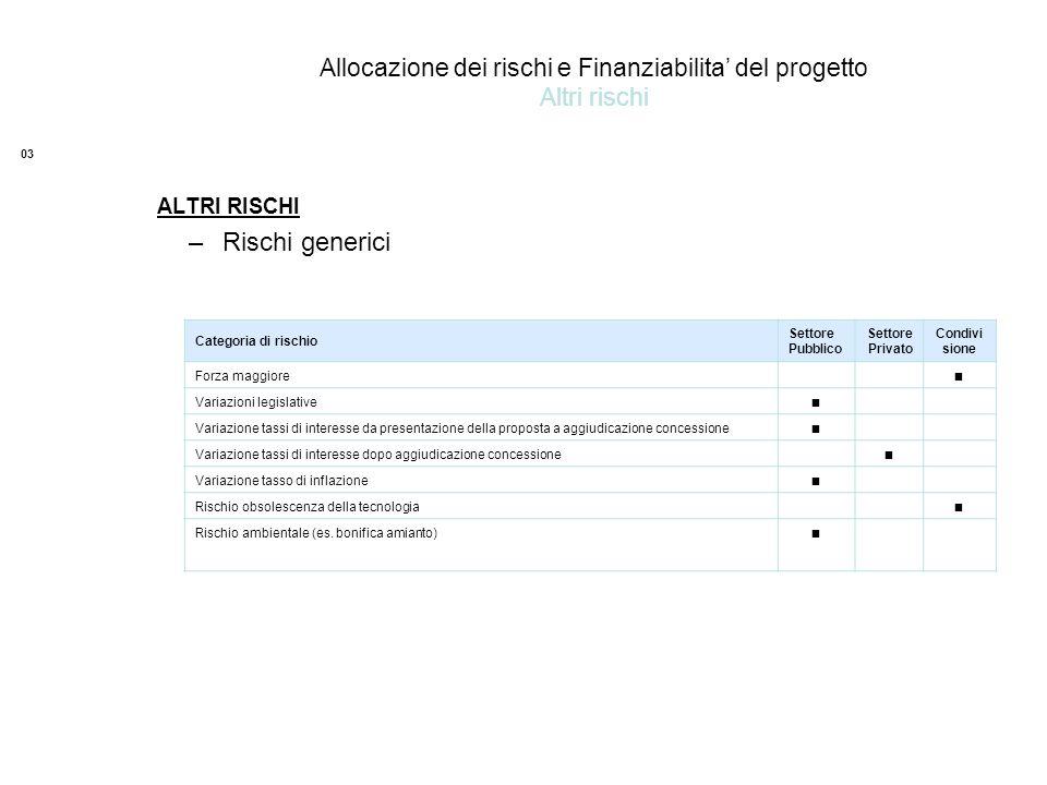 Allocazione dei rischi e Finanziabilita' del progetto Altri rischi