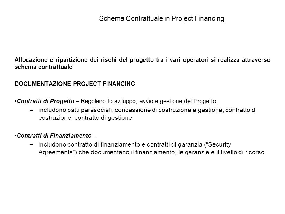 Schema Contrattuale in Project Financing