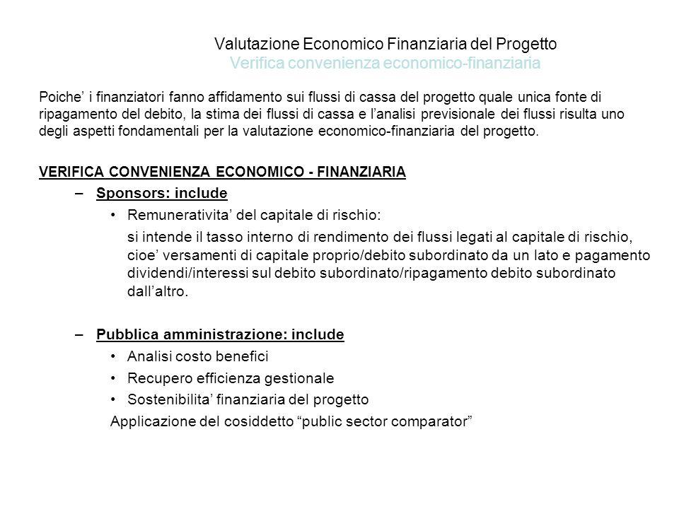 Valutazione Economico Finanziaria del Progetto Verifica convenienza economico-finanziaria
