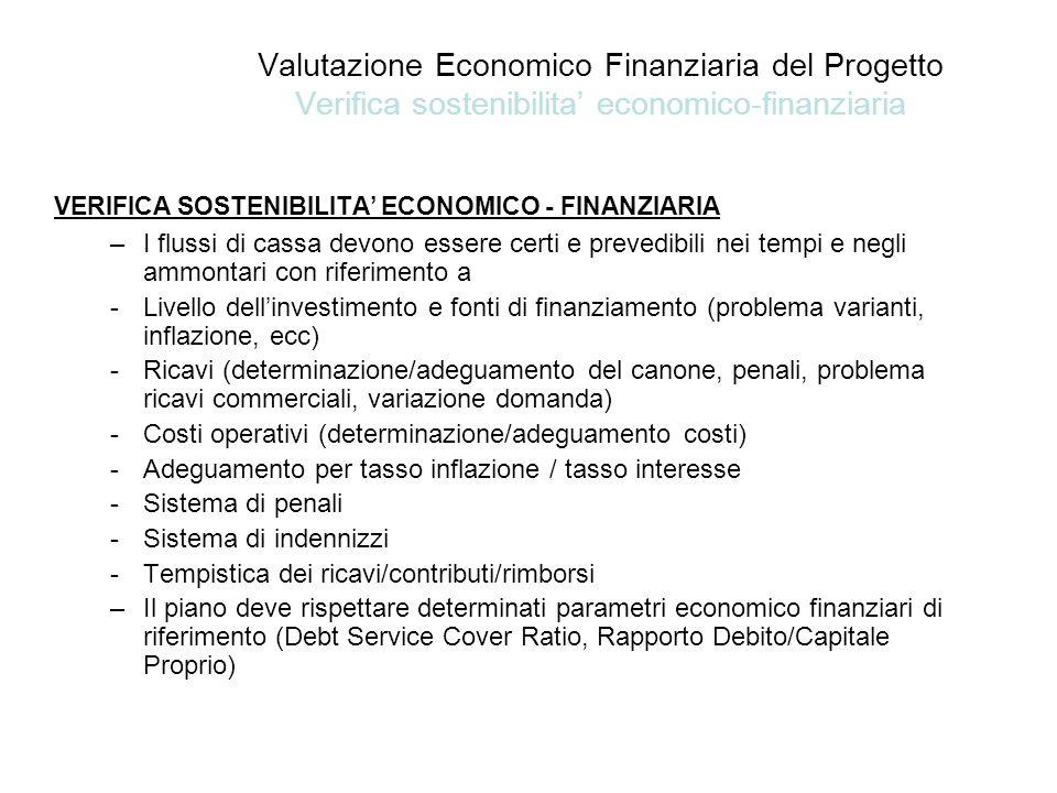 Valutazione Economico Finanziaria del Progetto Verifica sostenibilita' economico-finanziaria