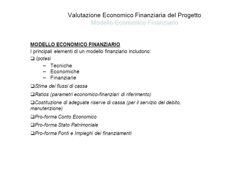Valutazione Economico Finanziaria del Progetto Modello Economico Finanziario