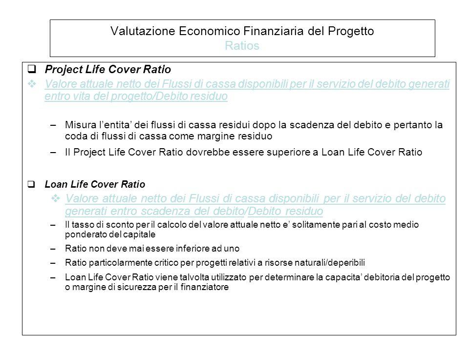 Valutazione Economico Finanziaria del Progetto Ratios