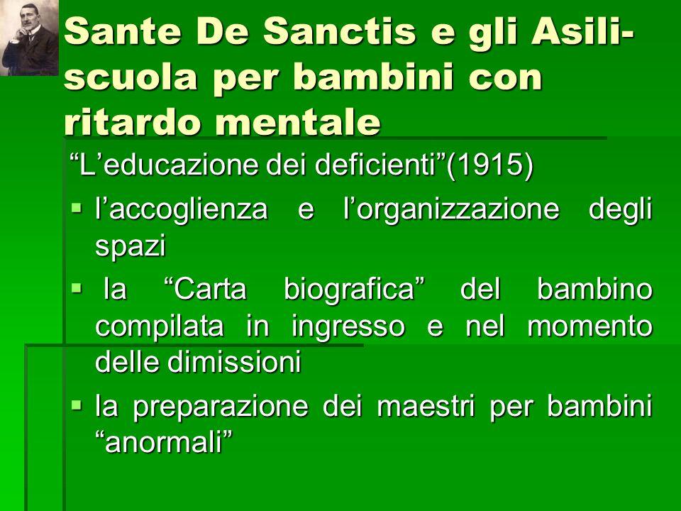 Sante De Sanctis e gli Asili-scuola per bambini con ritardo mentale