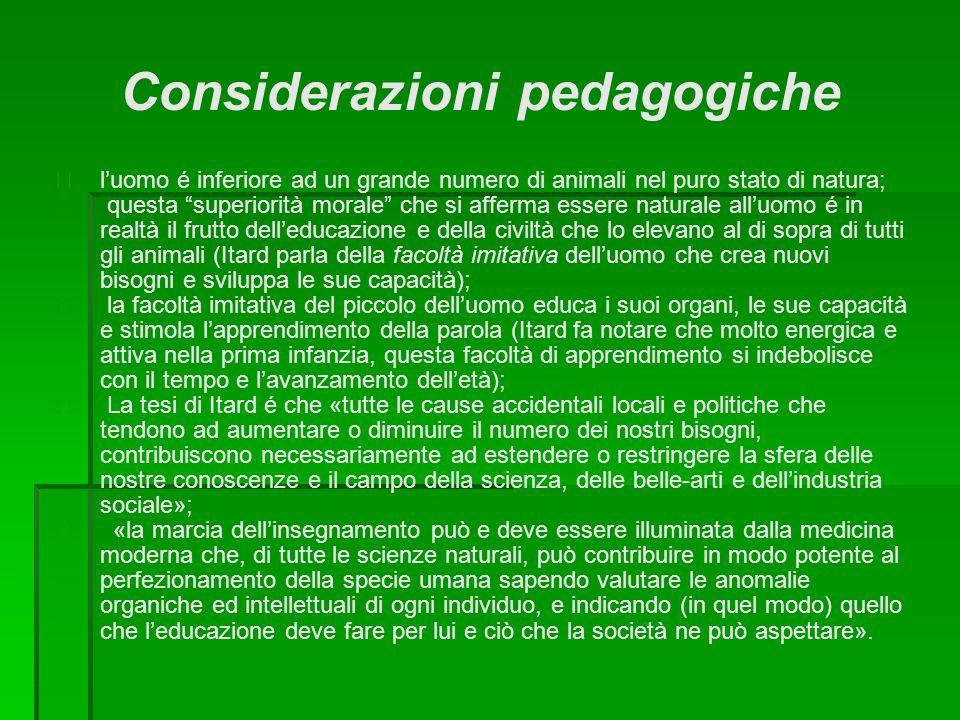 Considerazioni pedagogiche