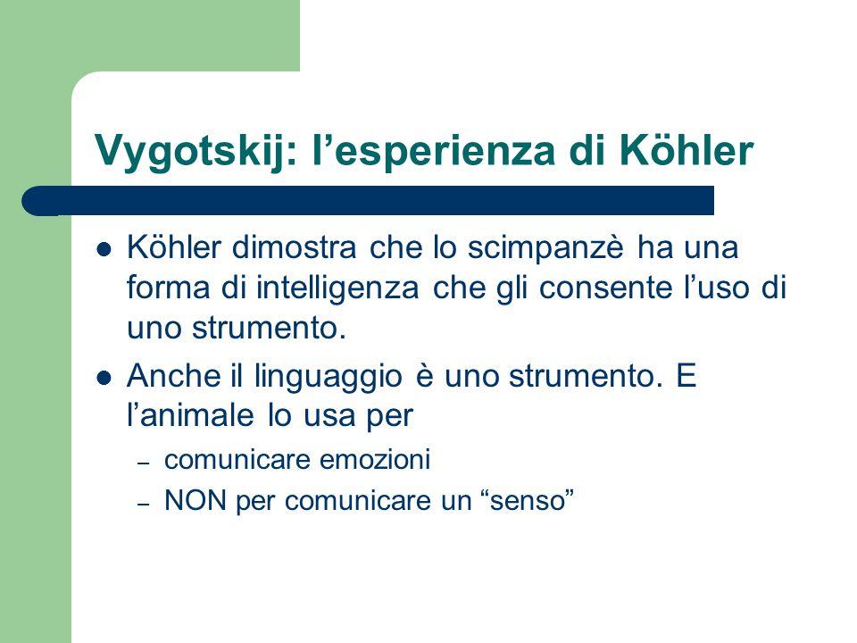 Vygotskij: l'esperienza di Köhler