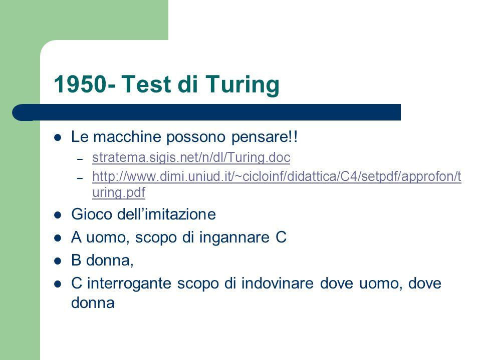 1950- Test di Turing Le macchine possono pensare!!