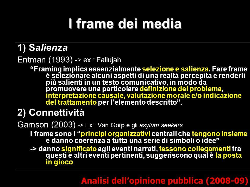 I frame dei media 1) Salienza 2) Connettività