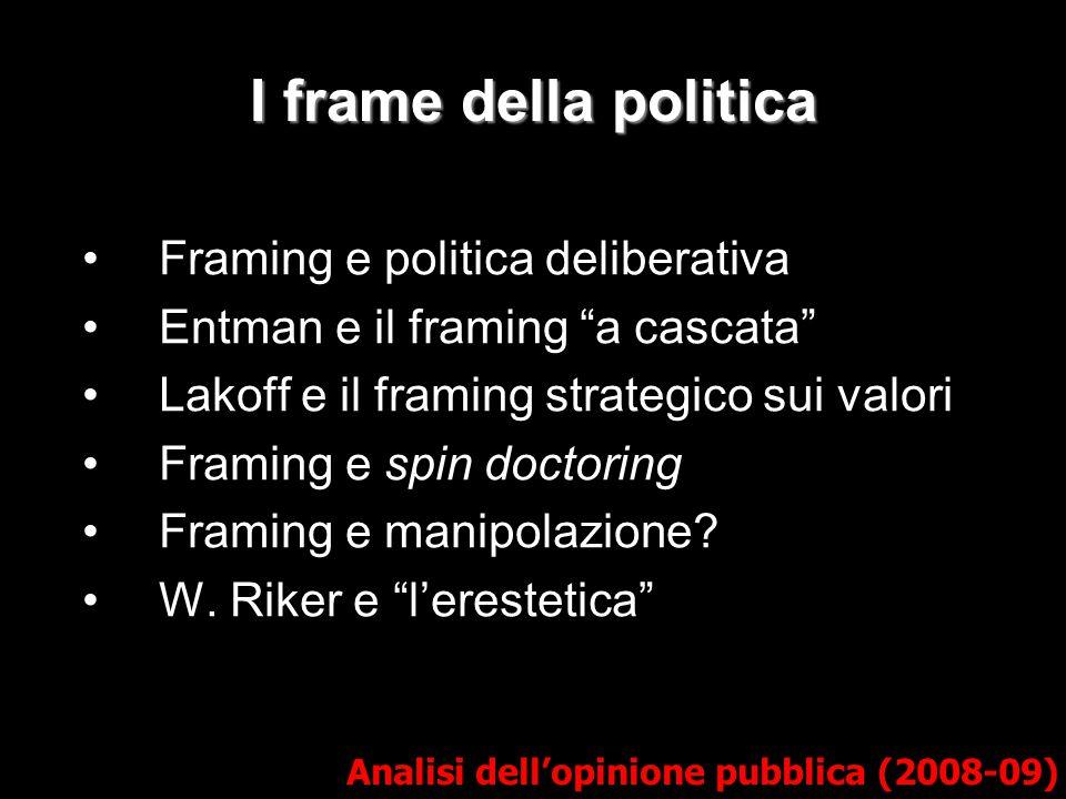 I frame della politica Framing e politica deliberativa
