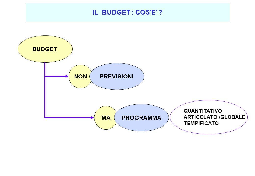 IL BUDGET : COS E BUDGET PREVISIONI NON PROGRAMMA MA QUANTITATIVO