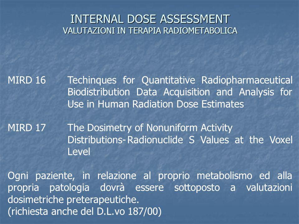 INTERNAL DOSE ASSESSMENT VALUTAZIONI IN TERAPIA RADIOMETABOLICA
