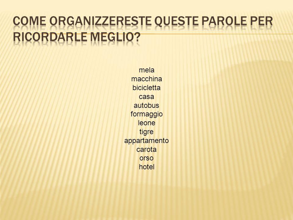COME ORGANIZZERESTE QUESTE PAROLE PER RICORDARLE MEGLIO