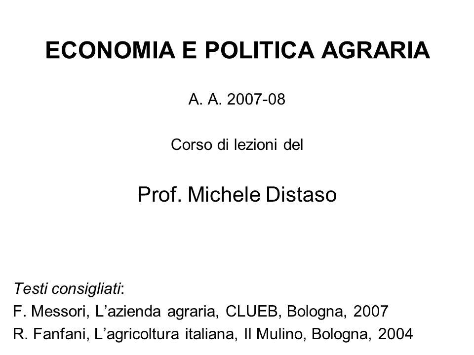 ECONOMIA E POLITICA AGRARIA
