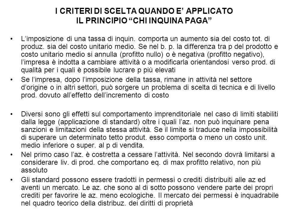 I CRITERI DI SCELTA QUANDO E' APPLICATO IL PRINCIPIO CHI INQUINA PAGA