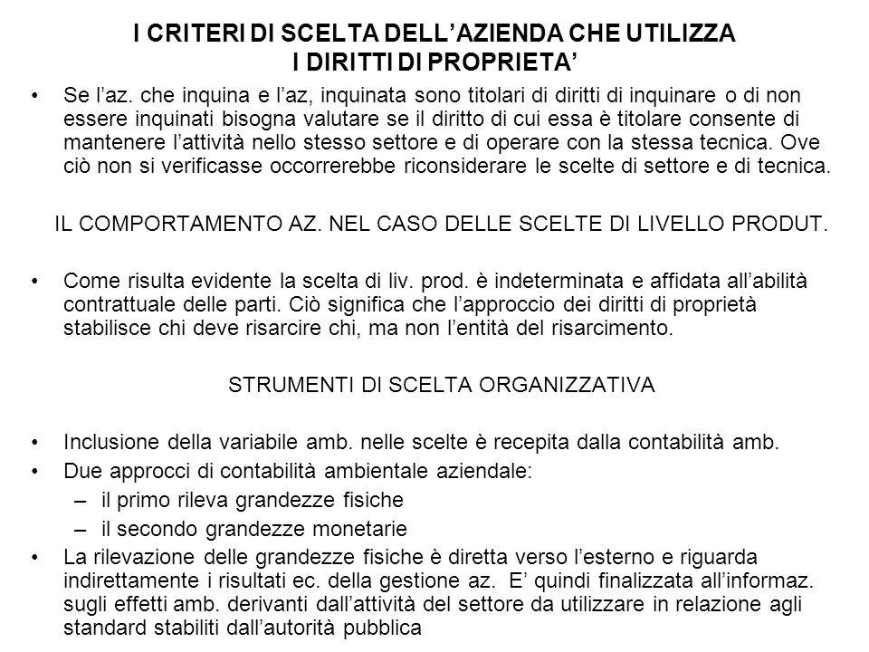 I CRITERI DI SCELTA DELL'AZIENDA CHE UTILIZZA I DIRITTI DI PROPRIETA'