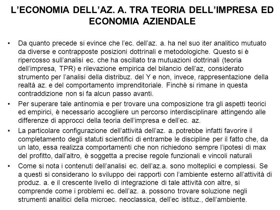 L'ECONOMIA DELL'AZ. A. TRA TEORIA DELL'IMPRESA ED ECONOMIA AZIENDALE