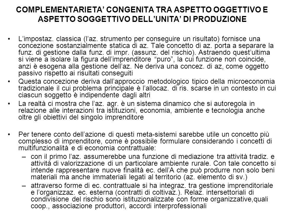 COMPLEMENTARIETA' CONGENITA TRA ASPETTO OGGETTIVO E ASPETTO SOGGETTIVO DELL'UNITA' DI PRODUZIONE