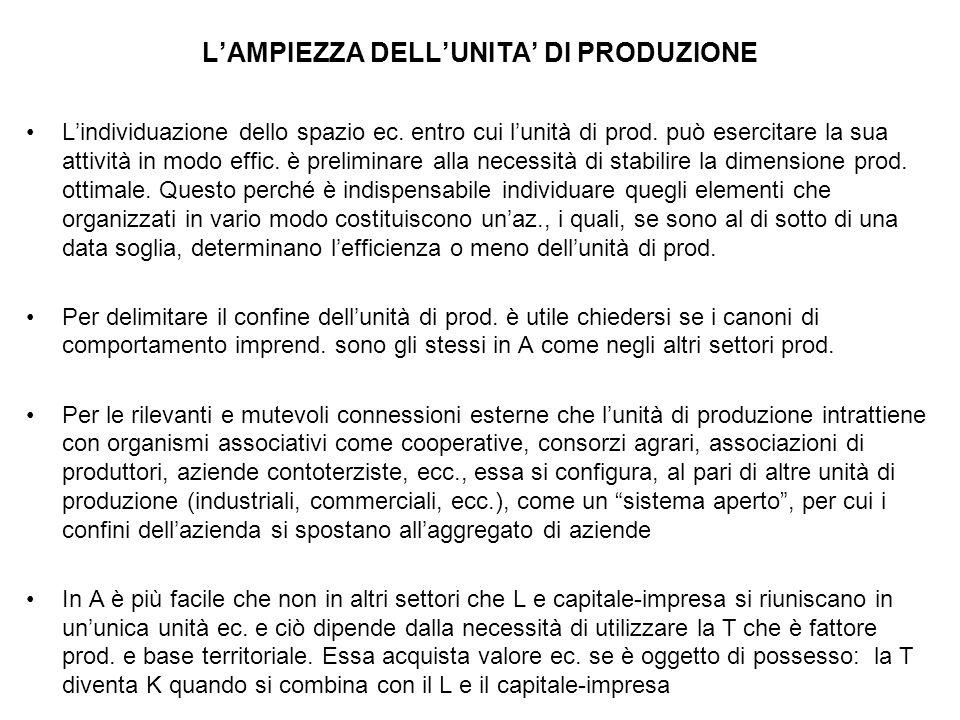 L'AMPIEZZA DELL'UNITA' DI PRODUZIONE