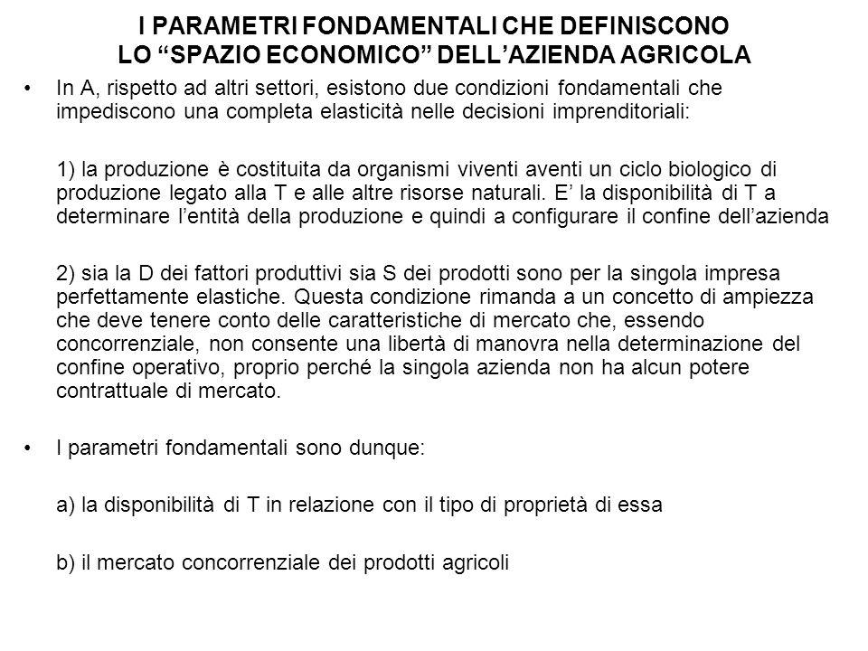 I PARAMETRI FONDAMENTALI CHE DEFINISCONO LO SPAZIO ECONOMICO DELL'AZIENDA AGRICOLA