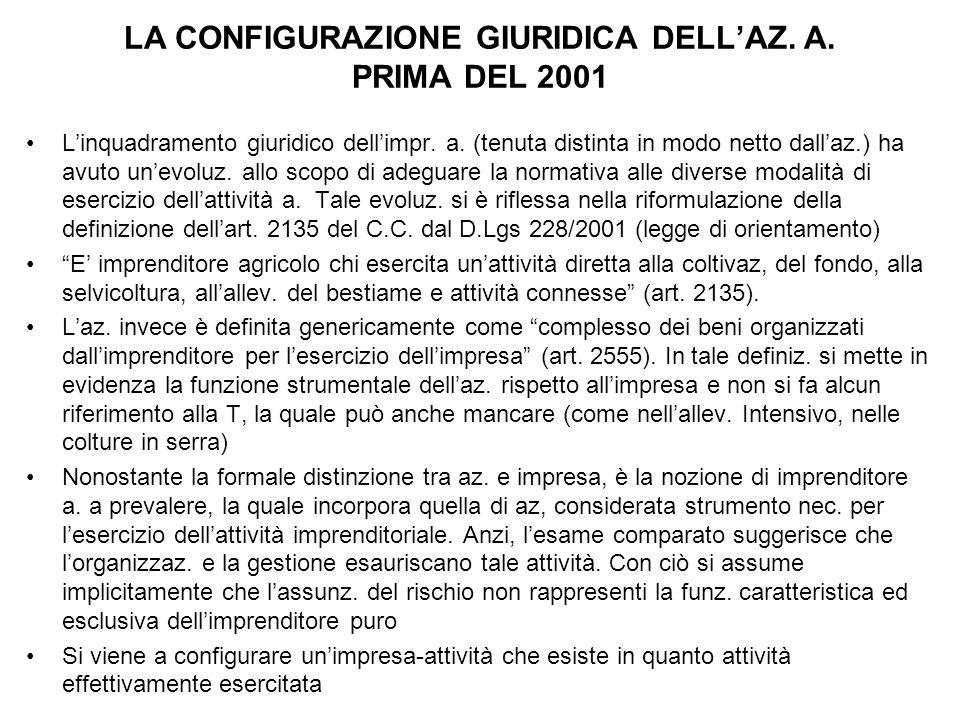 LA CONFIGURAZIONE GIURIDICA DELL'AZ. A. PRIMA DEL 2001