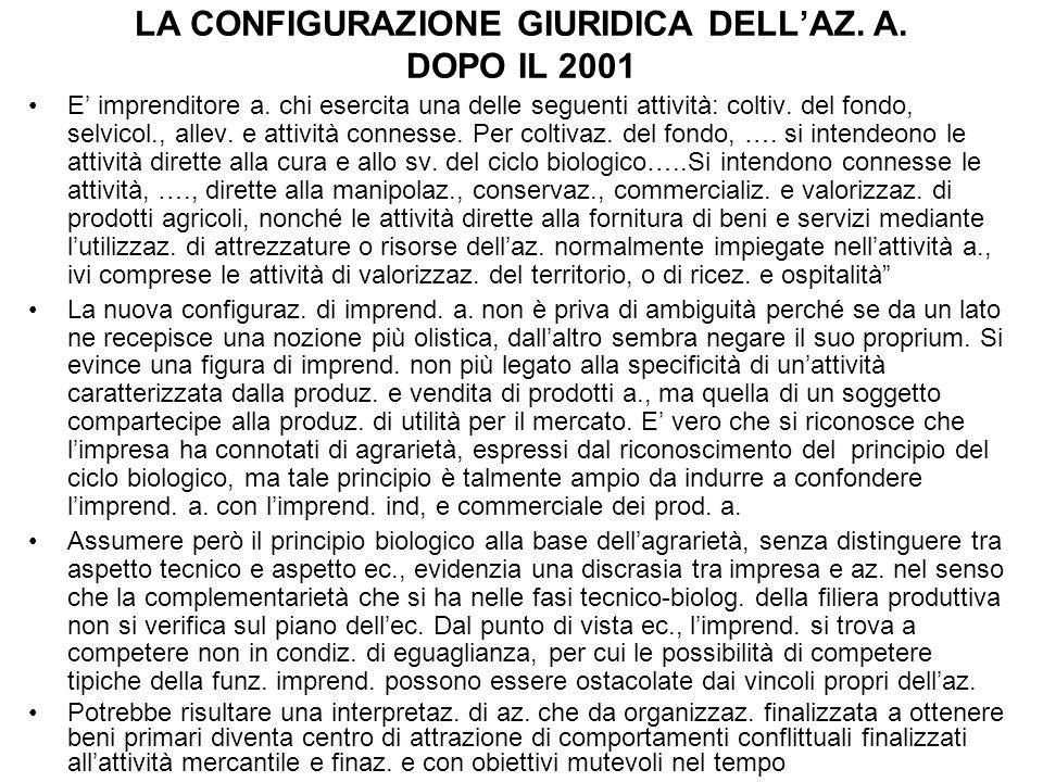 LA CONFIGURAZIONE GIURIDICA DELL'AZ. A. DOPO IL 2001