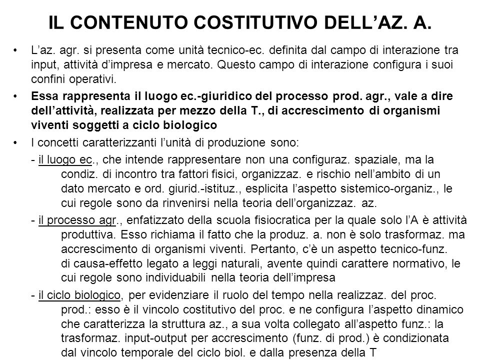 IL CONTENUTO COSTITUTIVO DELL'AZ. A.