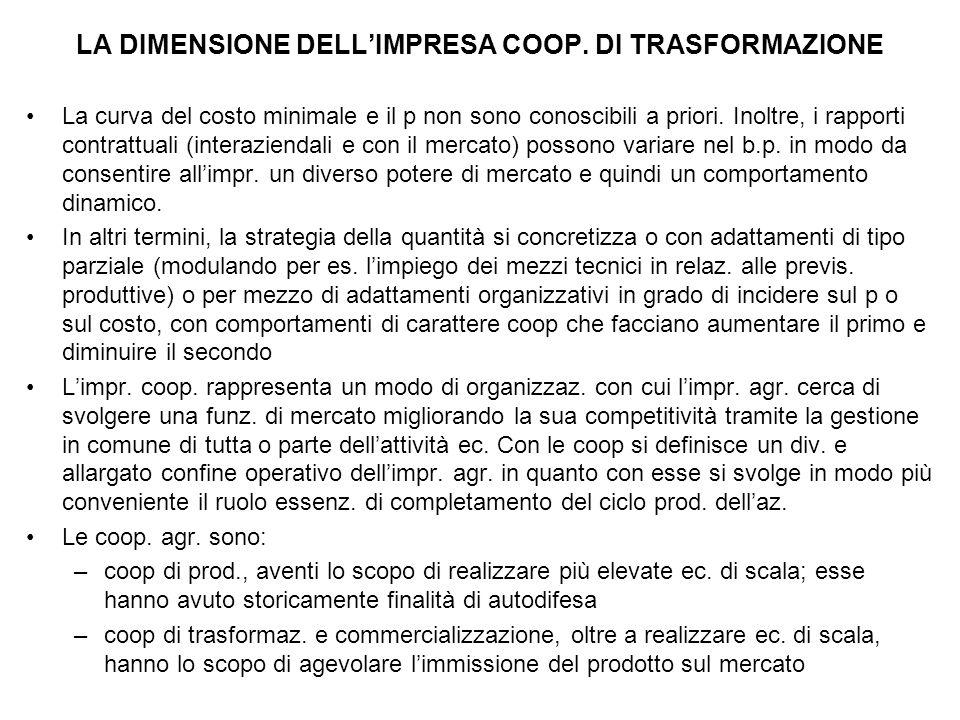 LA DIMENSIONE DELL'IMPRESA COOP. DI TRASFORMAZIONE