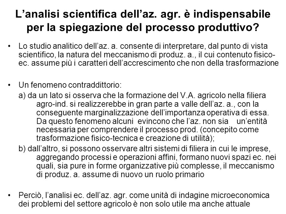 L'analisi scientifica dell'az. agr