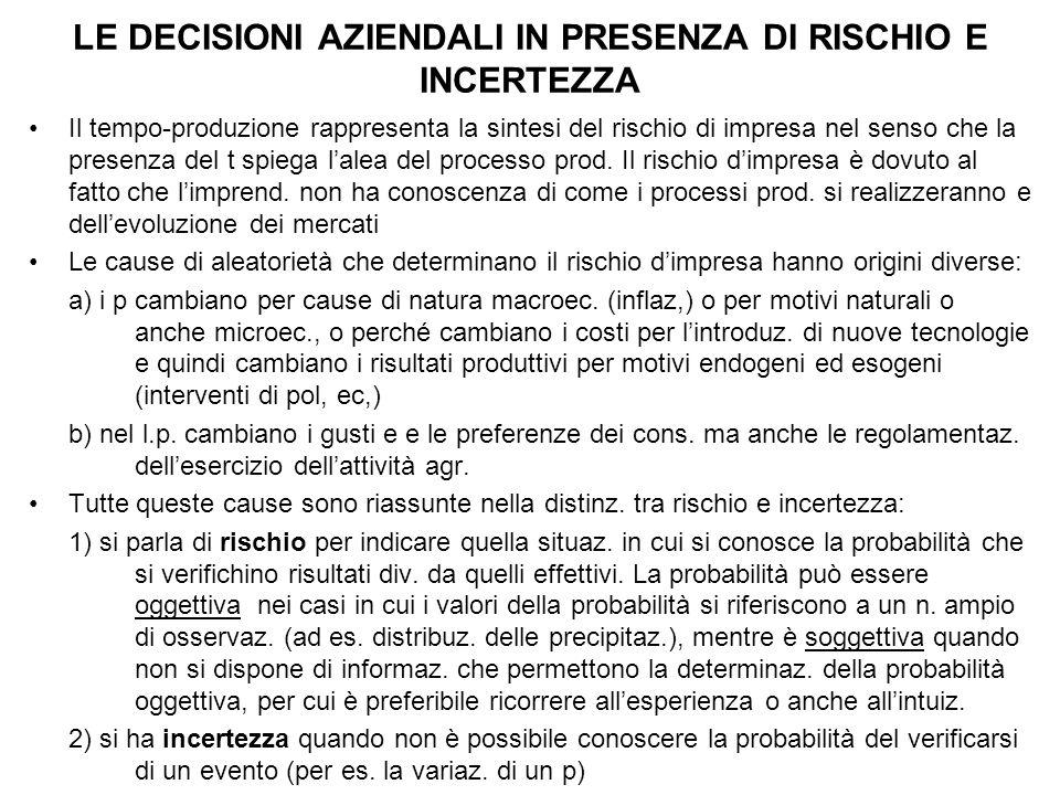 LE DECISIONI AZIENDALI IN PRESENZA DI RISCHIO E INCERTEZZA