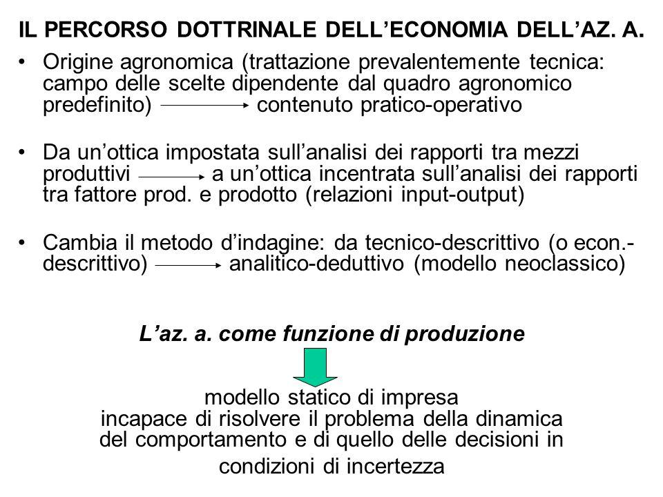 IL PERCORSO DOTTRINALE DELL'ECONOMIA DELL'AZ. A.