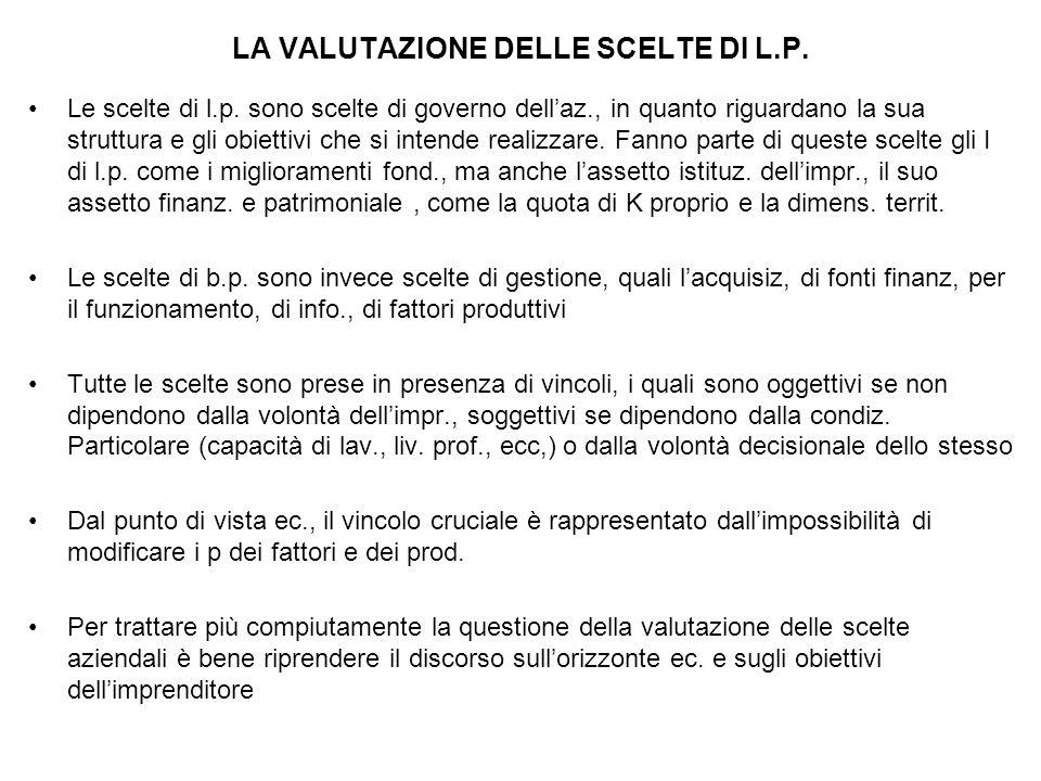 LA VALUTAZIONE DELLE SCELTE DI L.P.