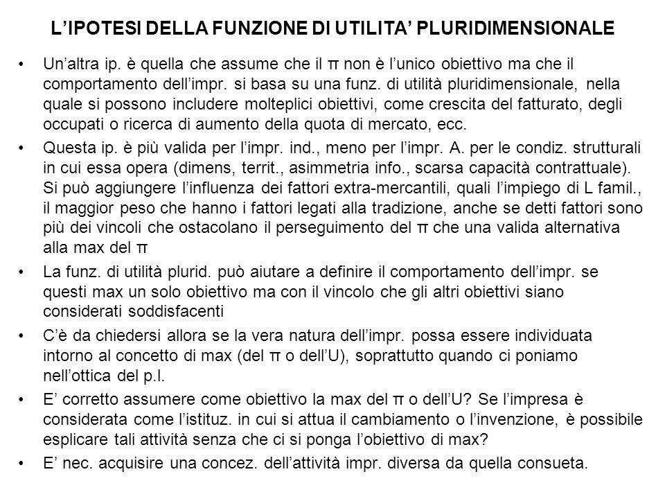 L'IPOTESI DELLA FUNZIONE DI UTILITA' PLURIDIMENSIONALE