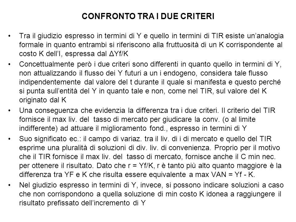 CONFRONTO TRA I DUE CRITERI