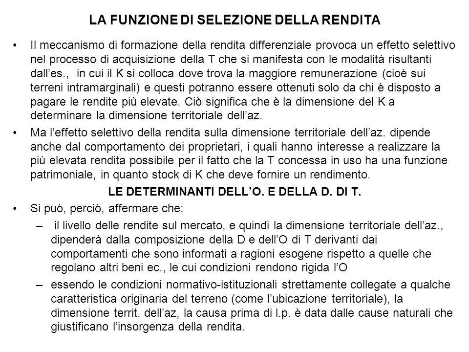 LA FUNZIONE DI SELEZIONE DELLA RENDITA