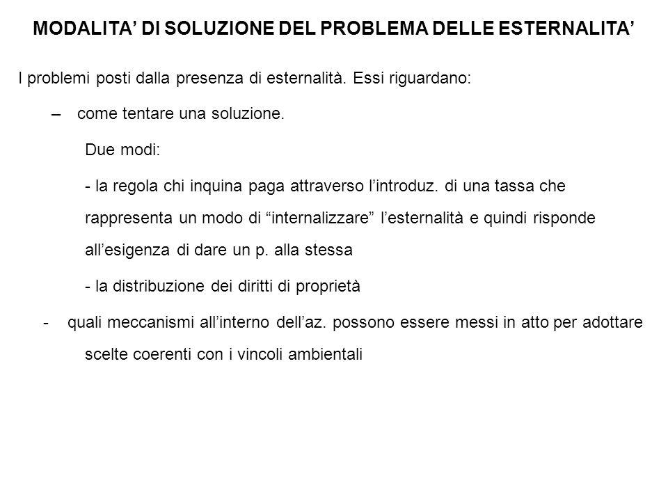 MODALITA' DI SOLUZIONE DEL PROBLEMA DELLE ESTERNALITA'
