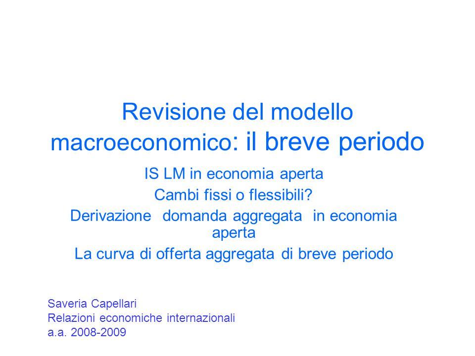 Revisione del modello macroeconomico: il breve periodo