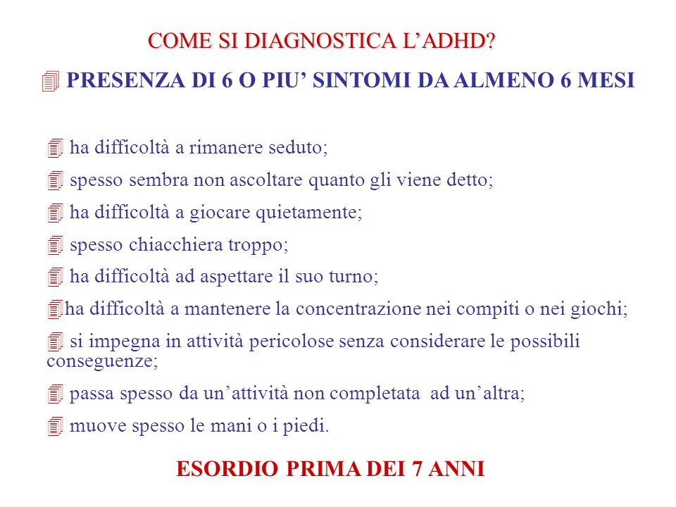 COME SI DIAGNOSTICA L'ADHD