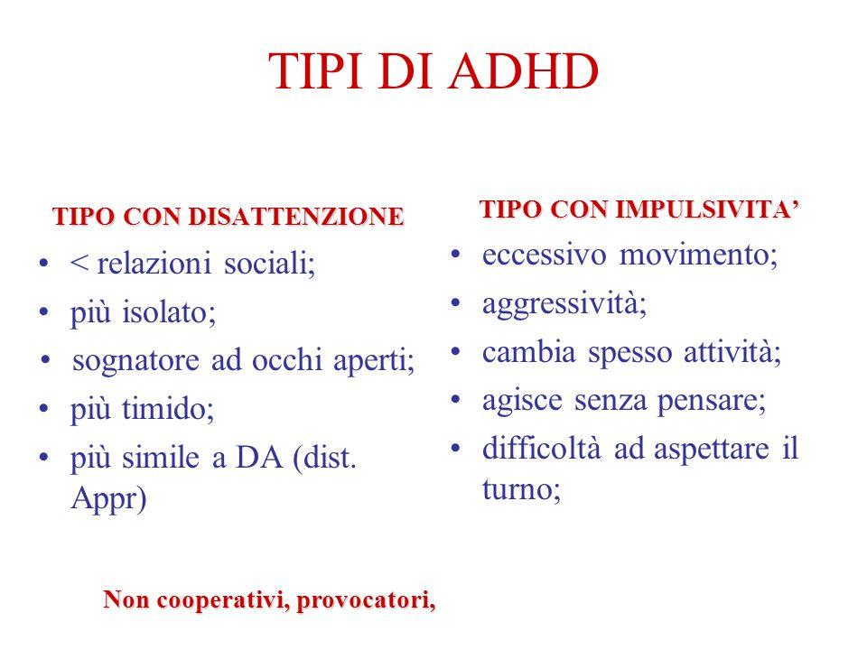TIPI DI ADHD eccessivo movimento; < relazioni sociali;