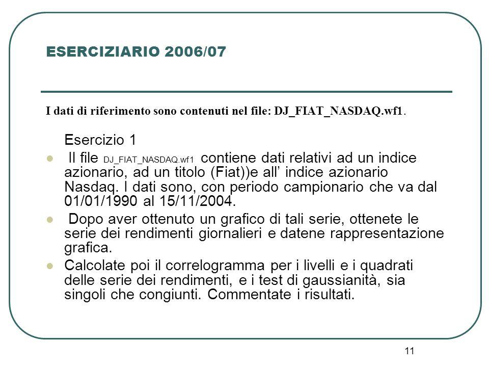 ESERCIZIARIO 2006/07 I dati di riferimento sono contenuti nel file: DJ_FIAT_NASDAQ.wf1. Esercizio 1.