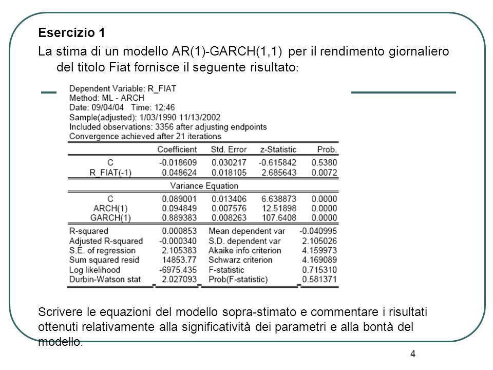 Esercizio 1 La stima di un modello AR(1)-GARCH(1,1) per il rendimento giornaliero del titolo Fiat fornisce il seguente risultato: