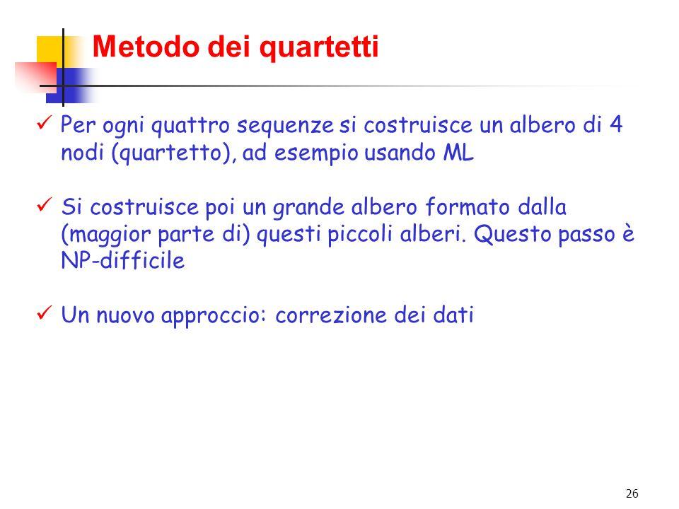 Metodo dei quartetti Per ogni quattro sequenze si costruisce un albero di 4 nodi (quartetto), ad esempio usando ML.