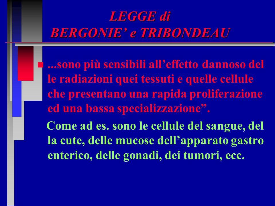 LEGGE di BERGONIE' e TRIBONDEAU