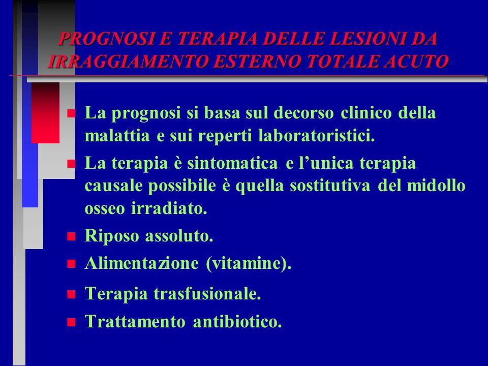 PROGNOSI E TERAPIA DELLE LESIONI DA IRRAGGIAMENTO ESTERNO TOTALE ACUTO