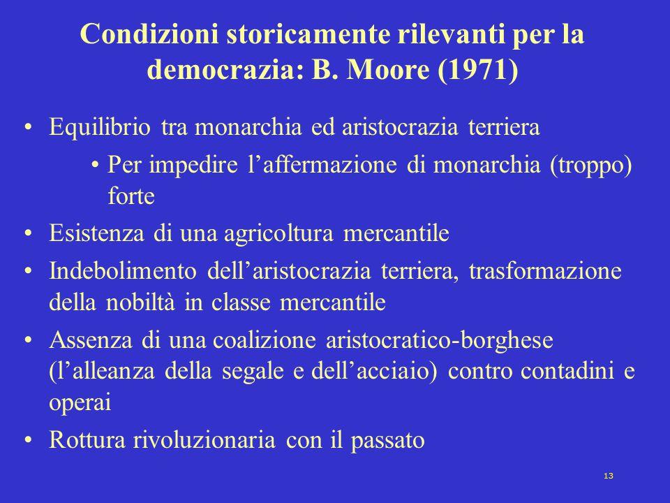Condizioni storicamente rilevanti per la democrazia: B. Moore (1971)
