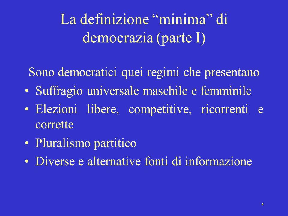 La definizione minima di democrazia (parte I)