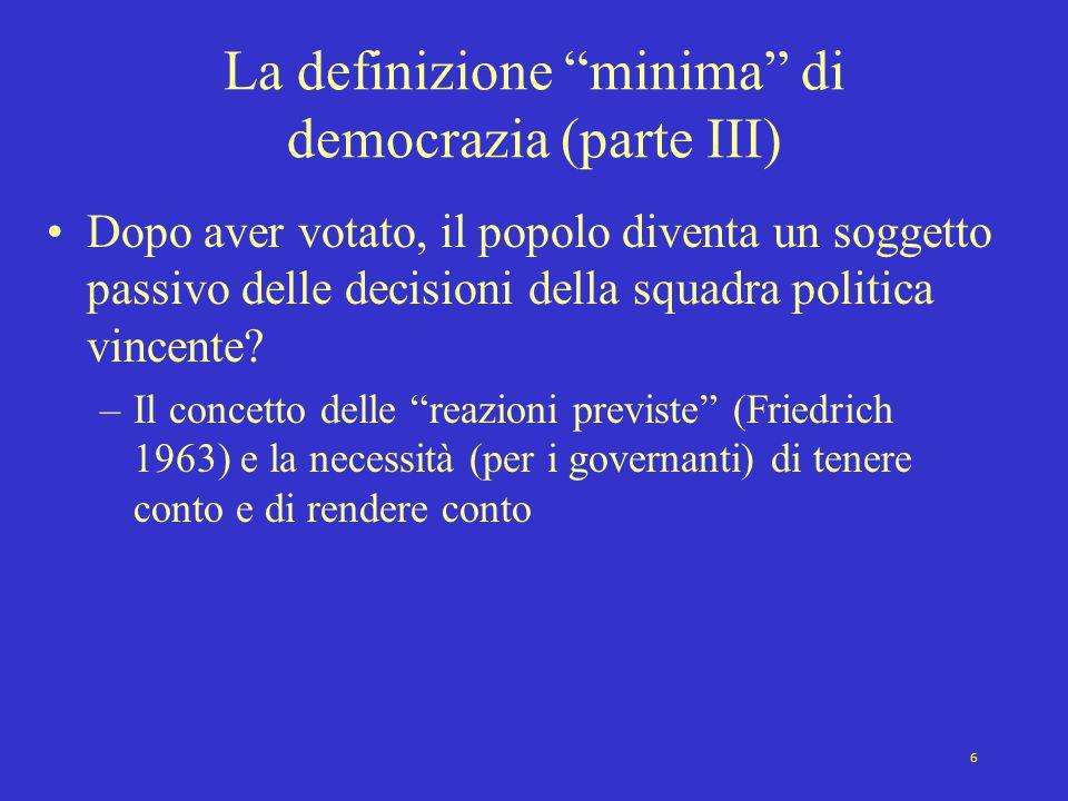 La definizione minima di democrazia (parte III)